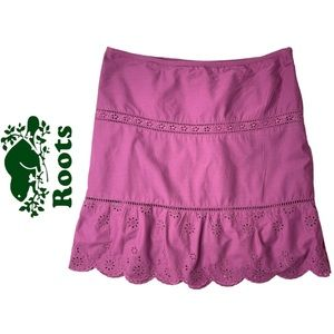 Roots Lined Skirt Purple Cotton Eyelet Skirt